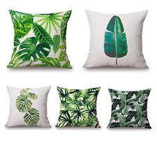 Kissenbezug 45x45 groß Leinen tropische Pflanzen Regenwald Motiv Kissen Bezug