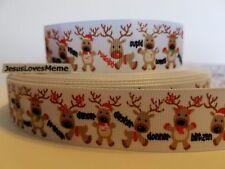 "Grosgrain Ribbon Rudolph Red Nosed Reindeer Christmas Cupid Blitzen Donner 1"""