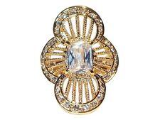 Damen Ring Shania, Cocktail-Ring, Metall-Legierung, Gold plattiert, Zirkonia