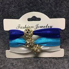 3 Ponytail Hair Holder Ribbon Elastic Band Accessory Beautiful Rhinestone Bead