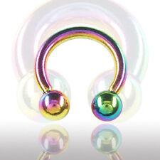 1,6mm Regenbogen Hufeisen Circular Barbell Nase Intim Ohr Brust Piercing