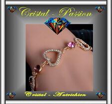 """Sublime Bracelet cristal autrichien """" 3 coeurs  """" doré à l'or fin 24k"""
