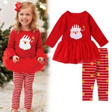 Baby Toddler Infant Christmas Santa Tutu Tulle Top Dress and Pant Set