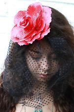 FLOWER HAIR CLIP WITH VEIL- GRUNGE INDIE HIPSTER PASTEL GOTH BRIDE