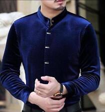 Mens Stand Collar Long Sleeve Velvet Slim Dress Business Shirts Casual Coas Tops