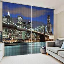 Manhattan Brige New York 3D Blockout Photo Printing Curtains Draps Fabric Window
