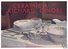 PUBBLICITA' 1932 RICHARD GINORI PORCELLANA CERAMICA SERVIZIO PIATTI R.DI MASSA