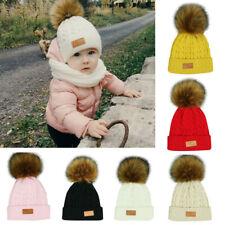 Cute Toddler Girl Boy Kids Baby Infant Winter Warm Fur Pom Knit Hat Beanie Cap