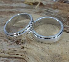 925 Sterling Silber schmaler Spinning Ring drehbares Innenteil blank schlicht