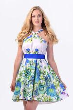 NWT ITALIAN DESIGNER Cotton Summer Dress Tropic Print Size XS 6 8 S 8 10 M 12