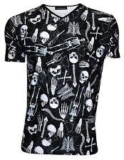 Men's Gotico Scheletri Teschi Ossa Cassa Toracica Cuore Stampa Collo a V T-shirt Girocollo Goth