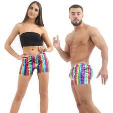 UNISEX SHINY METALLIC HOT PANTS WET LOOK STRETCHABLE GYM DISCO PARTY WEAR SHORTS