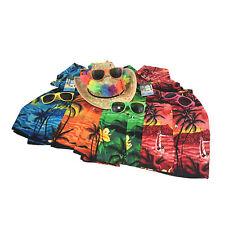 Mens Hawaiian Shirt Beach Party Aloha Hawaii Summer + Hat + Glasses + Lei