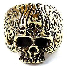 GOTHIC TATTOO SKULL BRAIN GOLD BRASS MEN'S RING