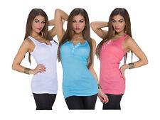 Camiseta de Tirantes Mujer Top Liso Botones Blusa Largo Deportiva Camisa
