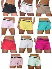 Nuevo Pantalón Corto Hotpants (1219) de satén de algodón Brillo Gratis Cinturón 8-16