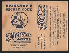 Superman - SUPERMEN of AMERICA MEMBERSHIP SUPERMAN'S SECRET CODE CARD 1961 RARE