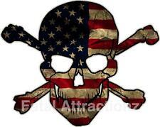 Distressed American Flag Skull Crossbones Vinyl Sticker Decal USA patriotic
