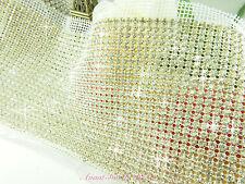 Rhinestone Mesh with Diamante, Hand Stitch Sewing Crystals Trim Wedding Craft
