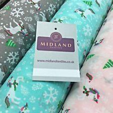 "Festive Christmas Snowflake Unicorn Printed poly cotton Fabric 44"" Wide MH972"