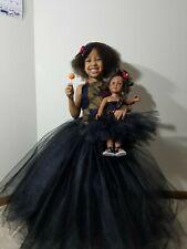 "18"" Doll Tutu And Girl Ribbon African Ankara Top Tutu Skirt Wit Matchin Hair Bow"