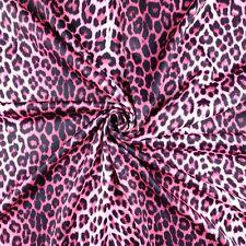 FS005_3 Pink Leopard Animal Print Dress Making Jersey Stretchy Scuba Fabric