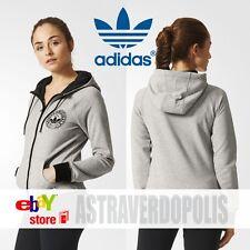 Adidas Originals Women Trefoil SLIM GRAY HOODIE Track Sweatshirt FLEECE UK 6