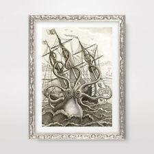 SEA MONSTER KRAKEN GIANT OCTOPUS NAUTICAL ART PRINT Poster Decor Wall A4A3A2