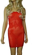 Mini Dress Sexy RED NET See through MESH Sheer Strapless Boob Tube LINGERIE D13