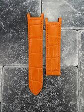 Leather Strap Orange Watch Band Deployment Buckle CARTIER PASHA 18mm 20mm 21mm