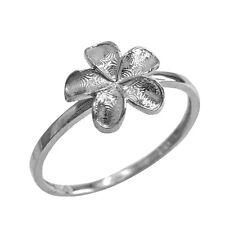 Fine Sterling Silver Frangipani Hawaiian Plumeria Rubra Flower Ring