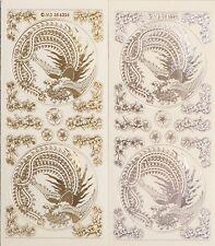 ORIENTAL Birds Corners Embossed Clear PEEL OFF STICKERS Cardmaking