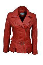 Ladies Designer Retro Feminine Red Leather Long Biker Jacket
