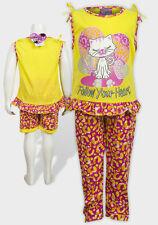 Filles 3 Pièce Pyjama Set by Sweet & Sassy Heart Cat yello NEUF avec etiquette 4-16 Ans