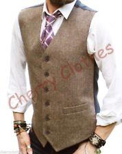 Mens Wool Blend Tweed Brown Beige Herringbone Waistcoat Vest Gilet  M L Xl Xxl