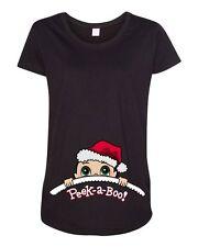 Baby Santa Christmas Peek A Boo Cute Pregnant Mommy Maternity DT T-Shirt Tee
