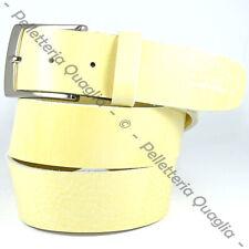 Cintura Pelle Giallo Cuoio Uomo Donna Artigianale Made In Italy 4,0 cm c0