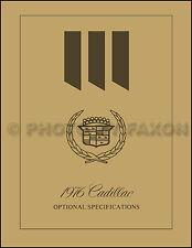 1976 Cadillac Optional Specifications Book Eldorado Deville Fleetwood Calais