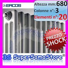 3S CALORIFERO RADIATORE TUBOLARE BIANCO 20 ELEMENTI H 680 mm - 3 COLONNE ACCIAIO