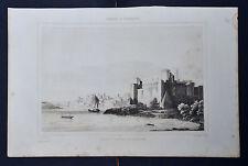1834.Stampa/Acciaio=Porto e Castello di BRINDISI.Salento.PUGLIA=Pittoresque.ETNA