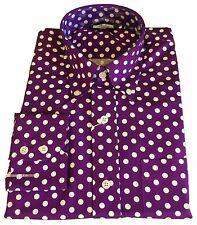 Relco Purple/White Polka Men's Classic Mod Vintage Design Shirt`s