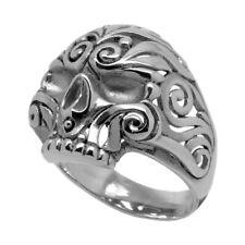 Sugar Skull Mexican Biker Ring Sterling Silver .925 Men Half Jaw Size UNIQABLE
