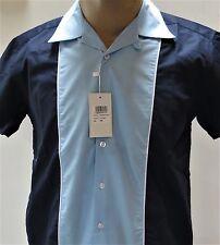 Relco Men's Navy & Sky Bowling Shirt, Retro 50's Short Sleeve.