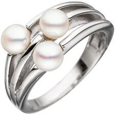 Anello da donna argento 925 RODIATO 3 perle d'ACQUA DOLCE ANELLO DI PERLINE