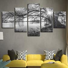 Lakeside Big Trees Paintings Black White Canvas Print Wall Art Home Decor