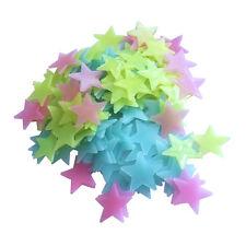 100 Étoiles Lumineuses Fluorescentes Jaune Rouge Bleu Mur Plafond Chambre enf...