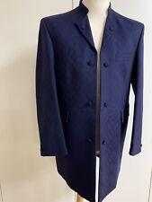 Mens Blue Brocade Nehru Collar Jacket Wool Ex Hire Weddings/Races/Formal