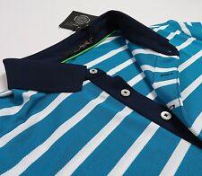 RLX Golf Ralph Lauren Men Blue Striped Polyester Sport Polo Shirts Stretch