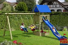 HOQ Spielturm Junior aus Holz all inkl. Spielanlage Rutsche Schaukel Sandkasten