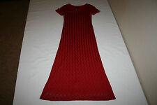 Scarlett Womens Sz 7/8 Red Full Length Short Sleeve Formal Dress Lined VERY NICE